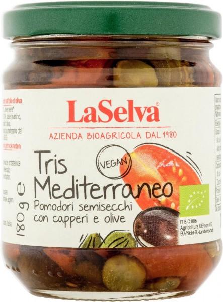 Tris mediterraneo - Pomodori semisecchi con capperi e olive sott'olio - 180g
